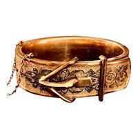 Wide Victorian Taille d'Epargne Enamel Buckle Bangle Bracelet