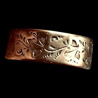 Antique Victorian Gold Filled Band Ring with Leaf Design Sz US 7