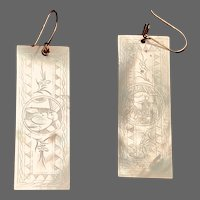 Antique Mother of Pearl Chinese Gaming Token Earrings