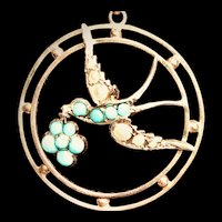 Antique Gold Turquoise Pearl Swallow Pendant Necklace
