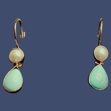 Gold-filled Turquoise Pearl Earrings