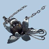 ESTATE: Vintage Taxco Sterling Orchid Necklace