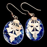 Vintage Oriental Lapis Lazuli Sterling Silver Earrings