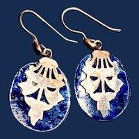 Vintage Oriental Lapis Lazuli Sterling Silver Earrings