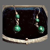Vintage 14k Gold-filled Malachite Dangle Earrings