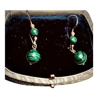Vintage 14k Gold-filled Malachite Dangle Earrings