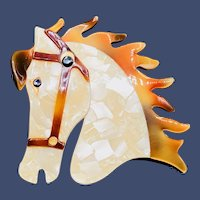 Lea Stein Butter The Horse Head Brooch Pin Pearly Cream Copper