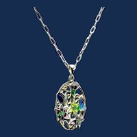Enamel Filigree Silver Champleve Hot Enamel Pendant Necklace