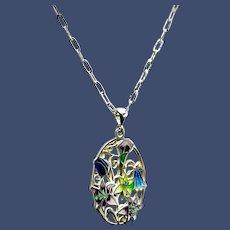 Enamel Filigree Silver Champleve Hot Enamel Pendant Necklace