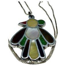 Vintage Native American Zuni Style Thunderbird Pendant and Chain