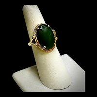 Mid-century 14K Yellow Gold Nephrite Jade Ring - 6 1/2 Sz