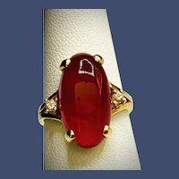 Vintage Mid-century 14K Classic Carnelian and Diamond Ring