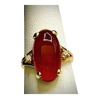 Vintage Mid-century 14K Classic Carnelian and Diamond Ring