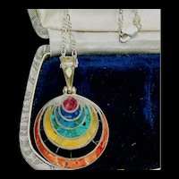 Bohemian Chakra Multi-Stone Sterling Pendant Necklace