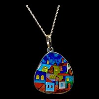 Unique Italian Handcrafted Hot Metal Cloisonne Village