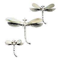 Vintage Sterling Silver Dragon Fly Brooches 1940s