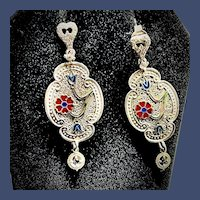 1930's Sterling Silver Art Deco Drop Earrings
