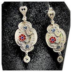 1930's Sterling Silver Art Deco Drop Earrings