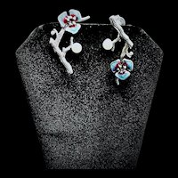Dangle Sterling Plum Twig and Enamel Flower Earrings