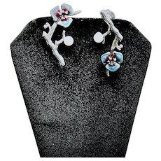 Dangle Sterling Plum Twig and Enamel Flower Earrings