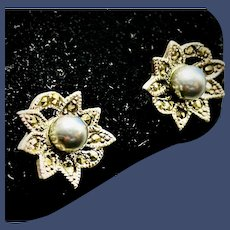 Vintage Sterling Silver Pierced Stud Earrings 2 Round Gray Cultured Pearl