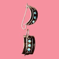Sterling Silver and Opal Half Hoop Drop Earrings