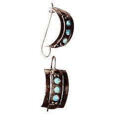 Sterling Silver and Opal Half Hoop Drop Earrings