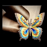 SIGNED Sterling Vintage Germany Alice Caviness Marcasite & Enamel Butterfly Brooch
