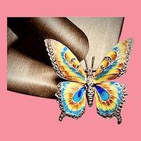SIGNED Sterling Vintage Germany Alice Caviness Marcasite & Enamel Butterfly Brooch