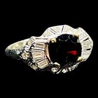 1920s 14k White Gold Deep Red Garnet Diamond Ring
