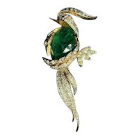 Exquisite Faux Emerald Gold Plated Parrot Brooch from Jaccard's of St Louis