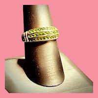 14K Yellow Gold Channel Set Peridot Ring - August Birthstone