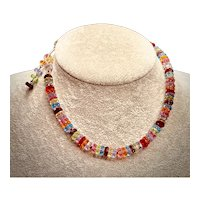 Multi-colored Faceted Crystal Rondelles Necklace - 1940