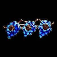 Art Nouveau Deep Blue Enamel Bar Brooch