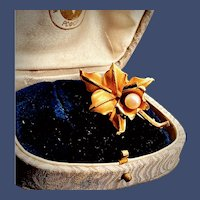 Turn-of-the-century Lady's 14K Orchid & Pearl Brooch