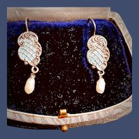 Sterling Silver Blue Enamel Earrings with Dangling Pearl