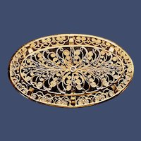 Vintage Alice Caviness Egg-shaped Gold-plated Sterling Marcasite Brooch