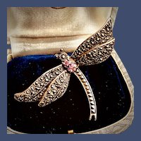 Sterling Silver Marcasite Pink Cubic Zirconia Dragonfly Brooch