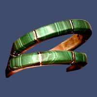 Malachite and Sterling Hoop Earrings