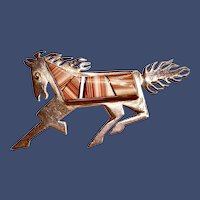 Signed Robert Vandever Inlaid Sterling Horse Brooch Navajo