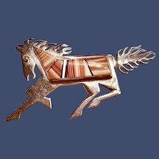Signed Robert Vandever Inlaid Sterling Horse Brooch Navajo
