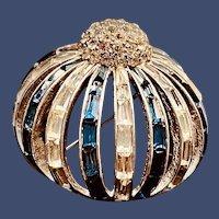 Rare Vintage Marcel Boucher Numbered 5314 Blue Rhinestone Button Brooch