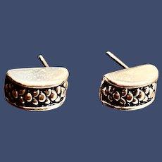 Vintage Sterling Silver Half Hoop Earrings