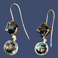 Blue Topaz Dangle Sterling Silver Earrings