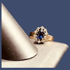 1920s 14K Sapphire and Diamond Engagement or Promise Ring