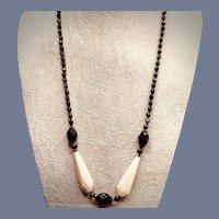 1920s Art Deco Czech Black Glass and Cream Necklace
