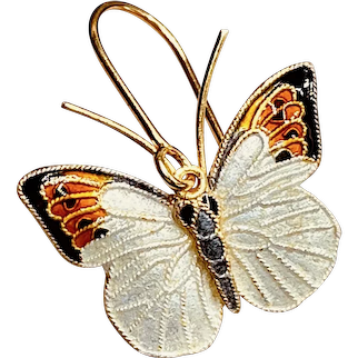 Vintage 1970s Thousand Flowers Cloisonné Enamel Butterfly Sterling Silver 24k Gold-washed Earrings
