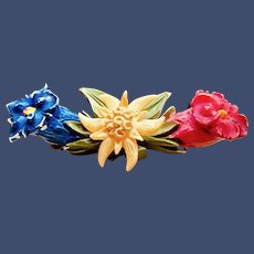 Antique Carved and Painted Edelweiss Flower Brooch - Swiss Souvenir Jewelry