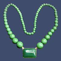 Vintage Peking Glass Graduated Bead Necklace