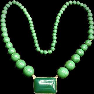 Vintage Peking Glass Graduated Bead Necklace